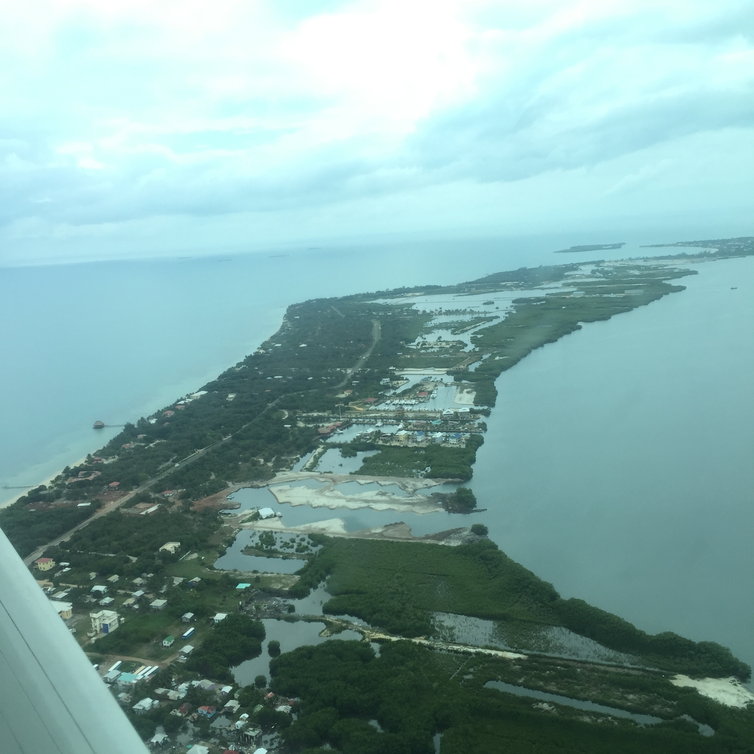 View of the Placencia peninsula from the window of the commuter plane.