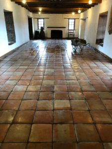 Inside of the Old Adobe and the Saltillo Tile installed in the main room.